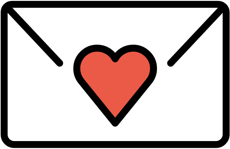 Envelope with red heart in it