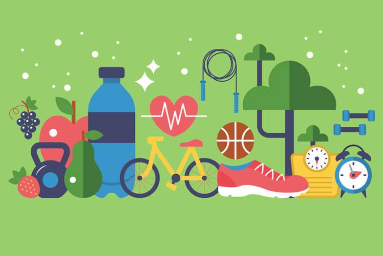 fruit, veg, exercise, water, sleep