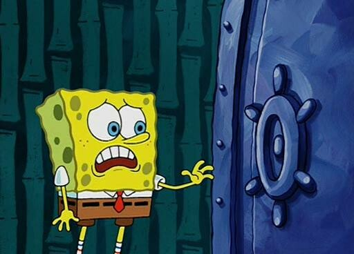 SpongeBob SquarePants and a big blue round thing