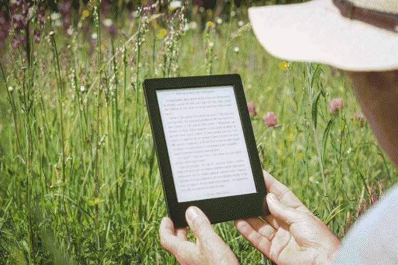 Person in a field reading a tablet