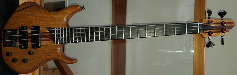 Reclaimed oak and mahogany 4-string through-neck long-scale ebass bass guitar